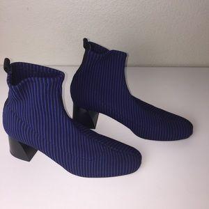 Zara Blue Black Stripe Heel Ankle Sock Boot